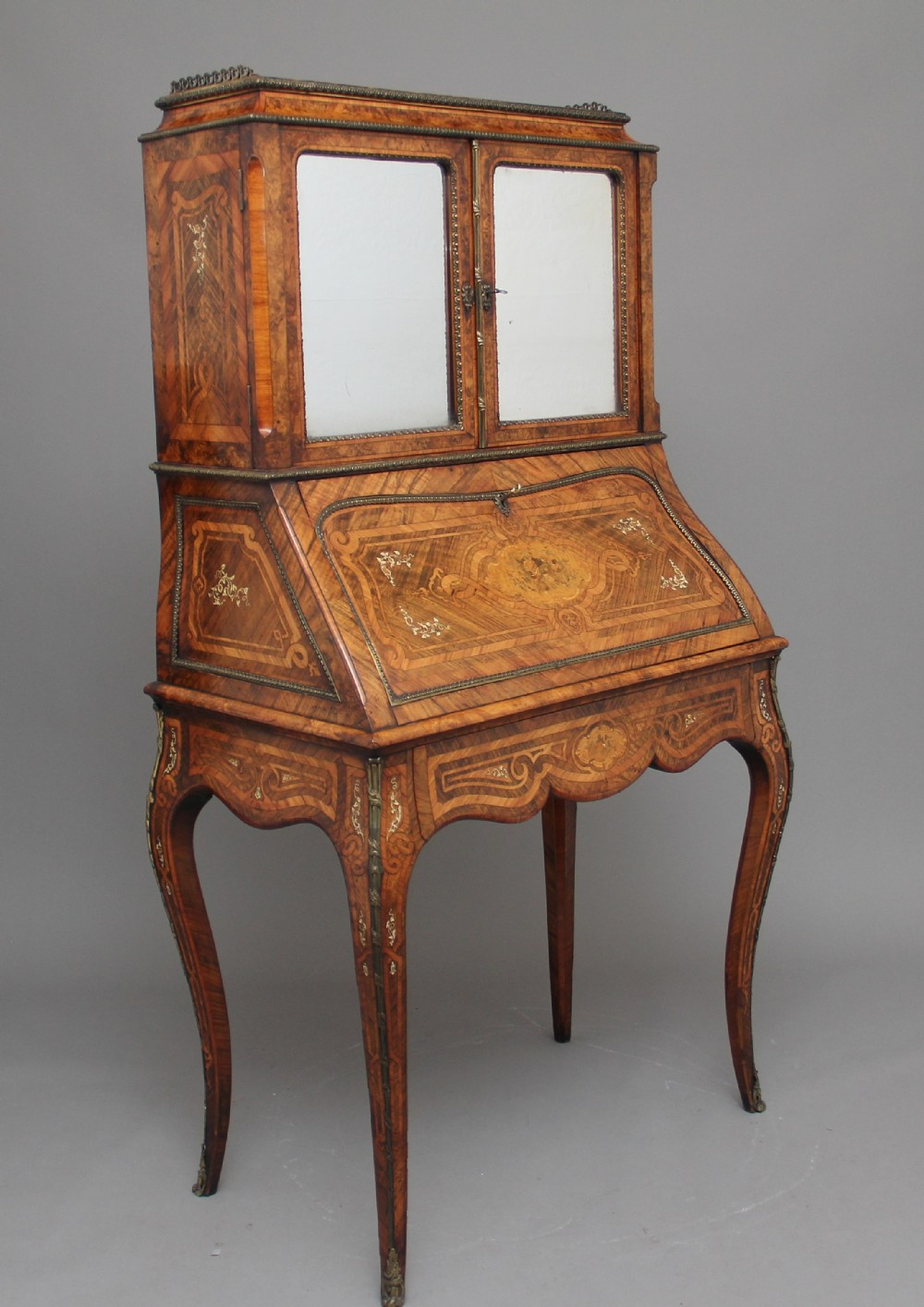 19th century walnut and kingwood bureau de dame