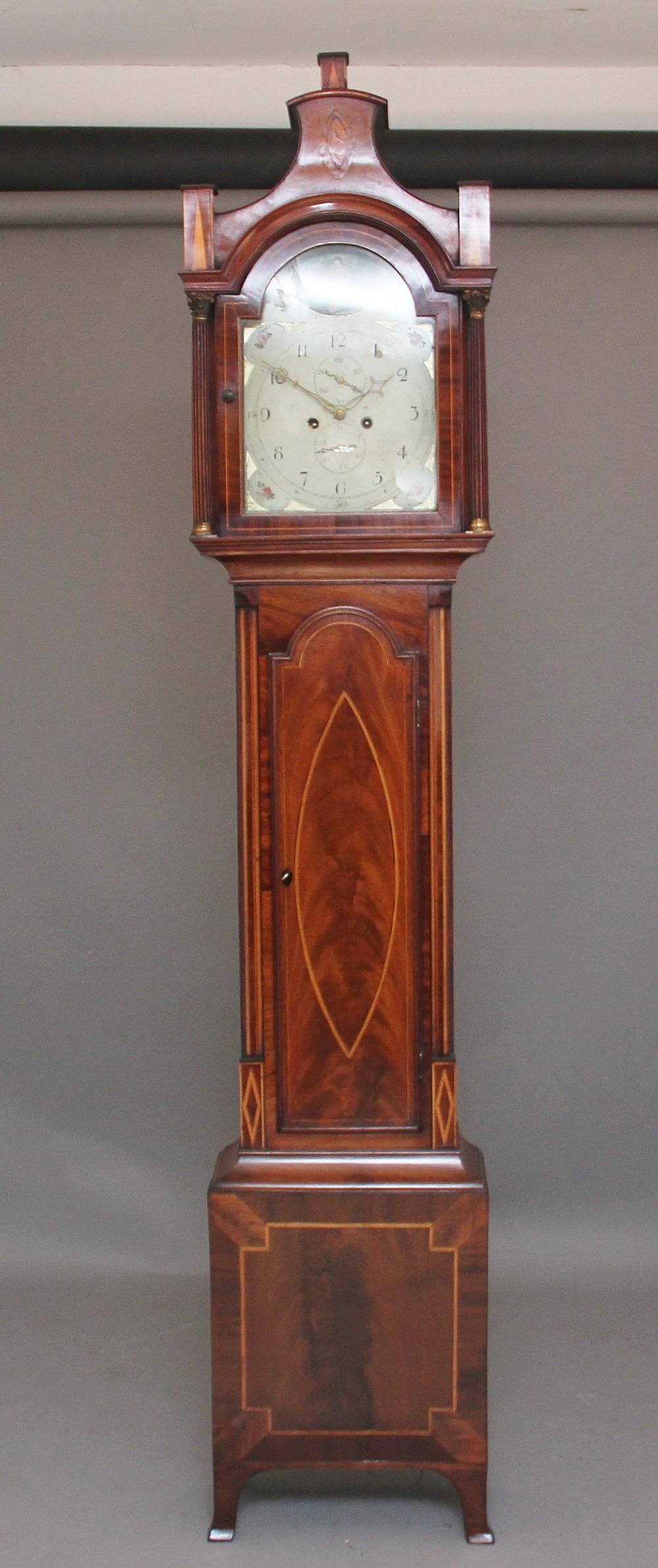 19th century mahogany and inlaid long case clock