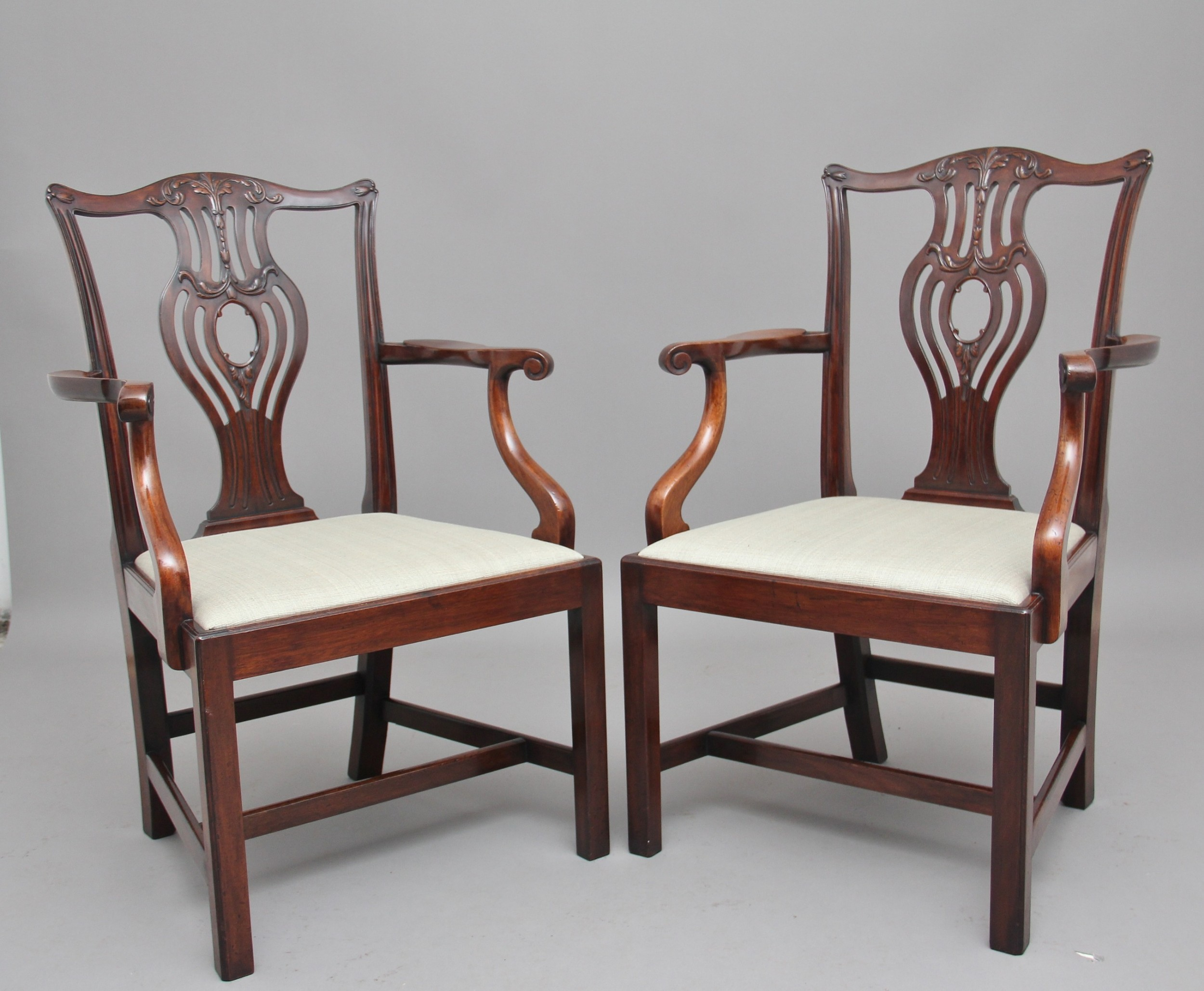 pair of early 20th chippendale style armchairs