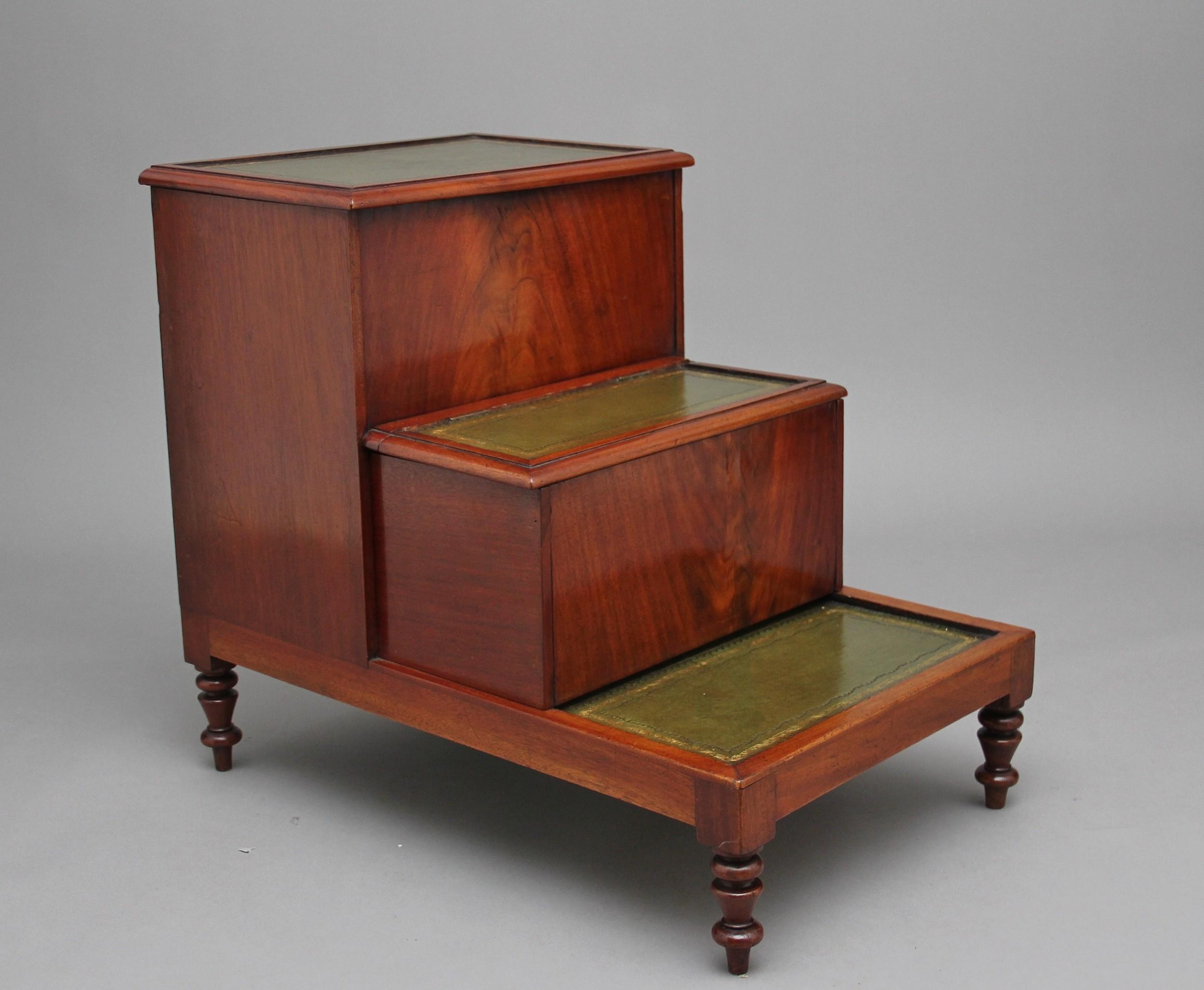 19th century mahogany library steps