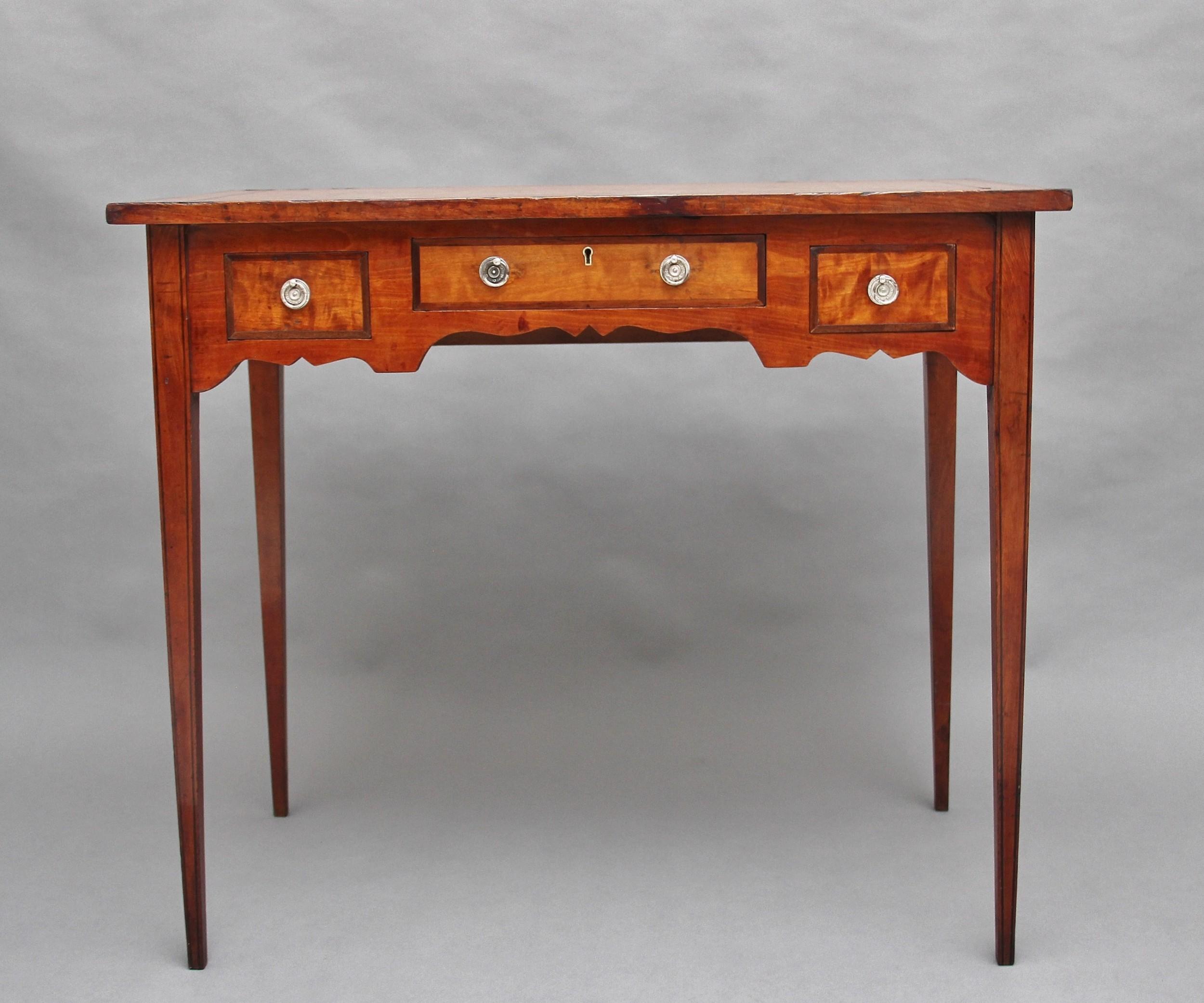 19th century satin birch side table
