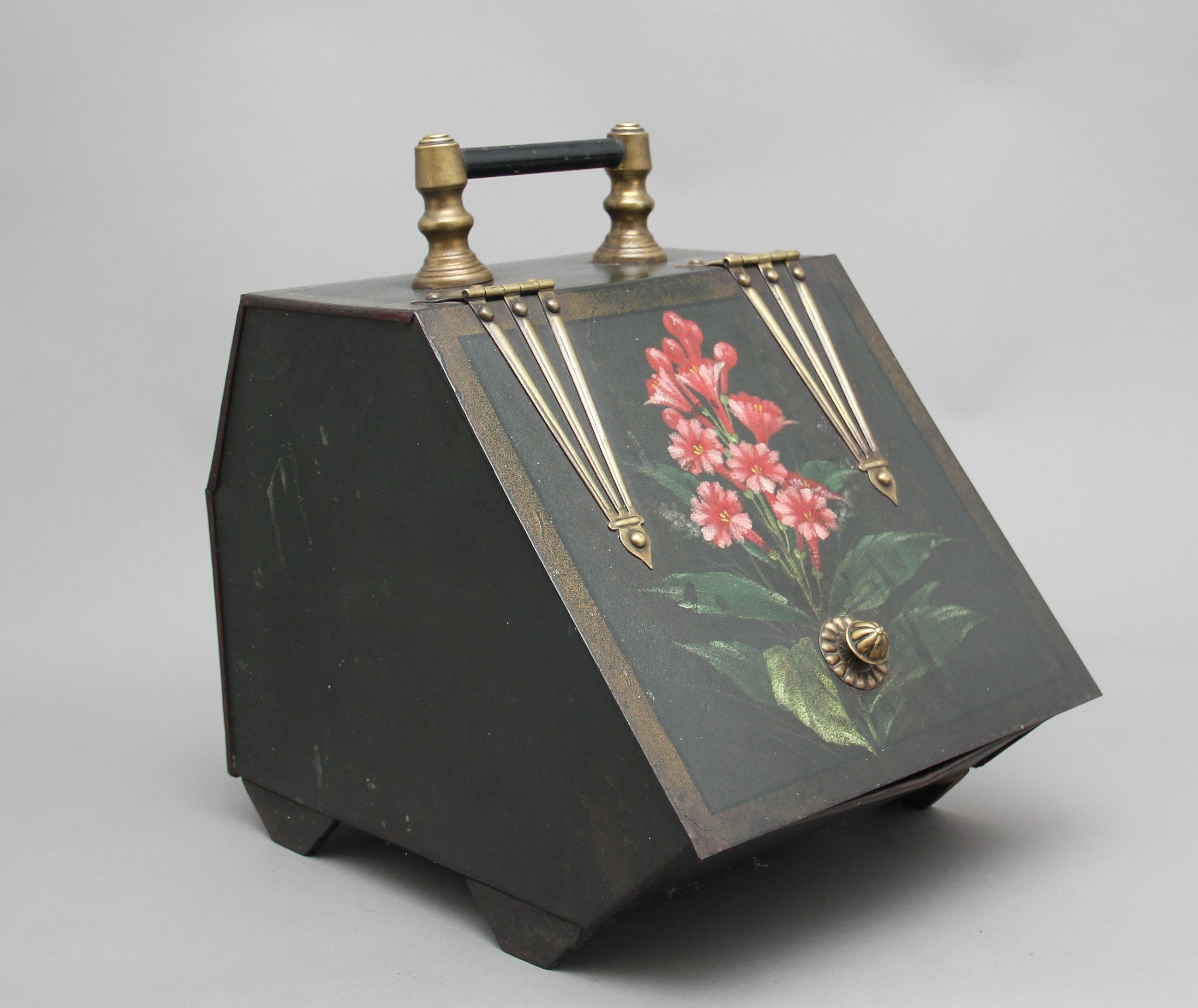 19th century metal and painted coal box