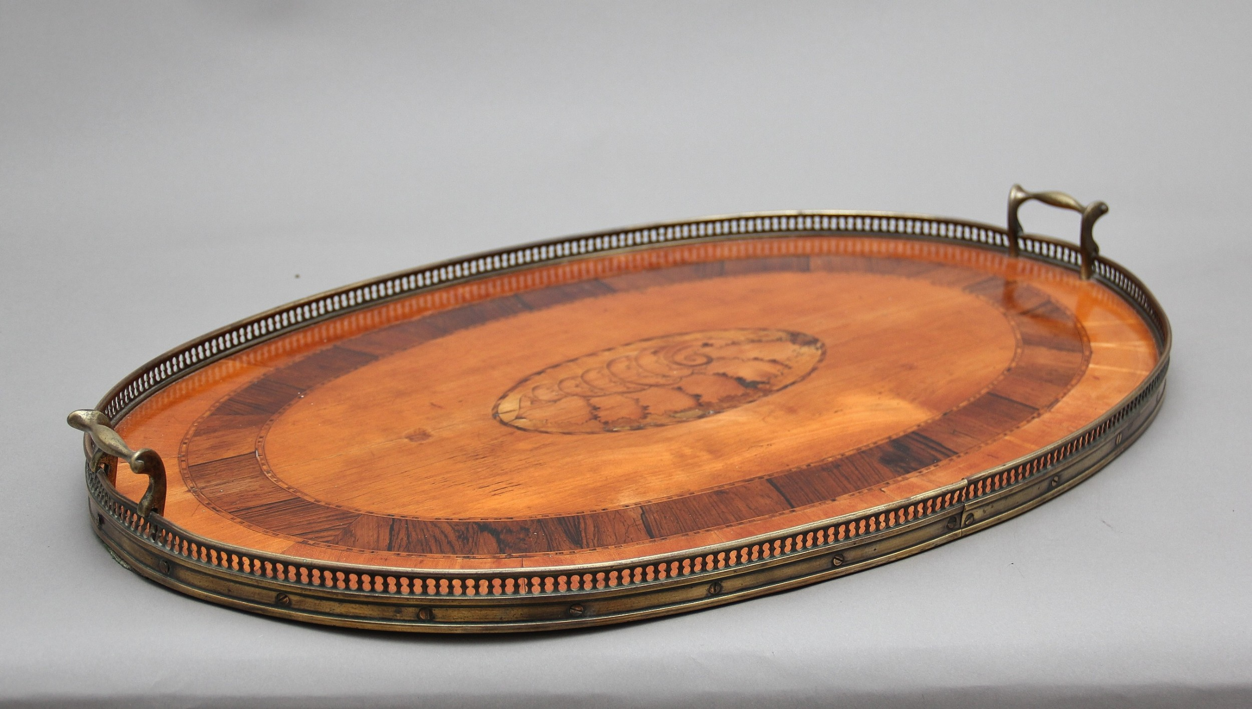 19th century satinwood brass and inlaid tray