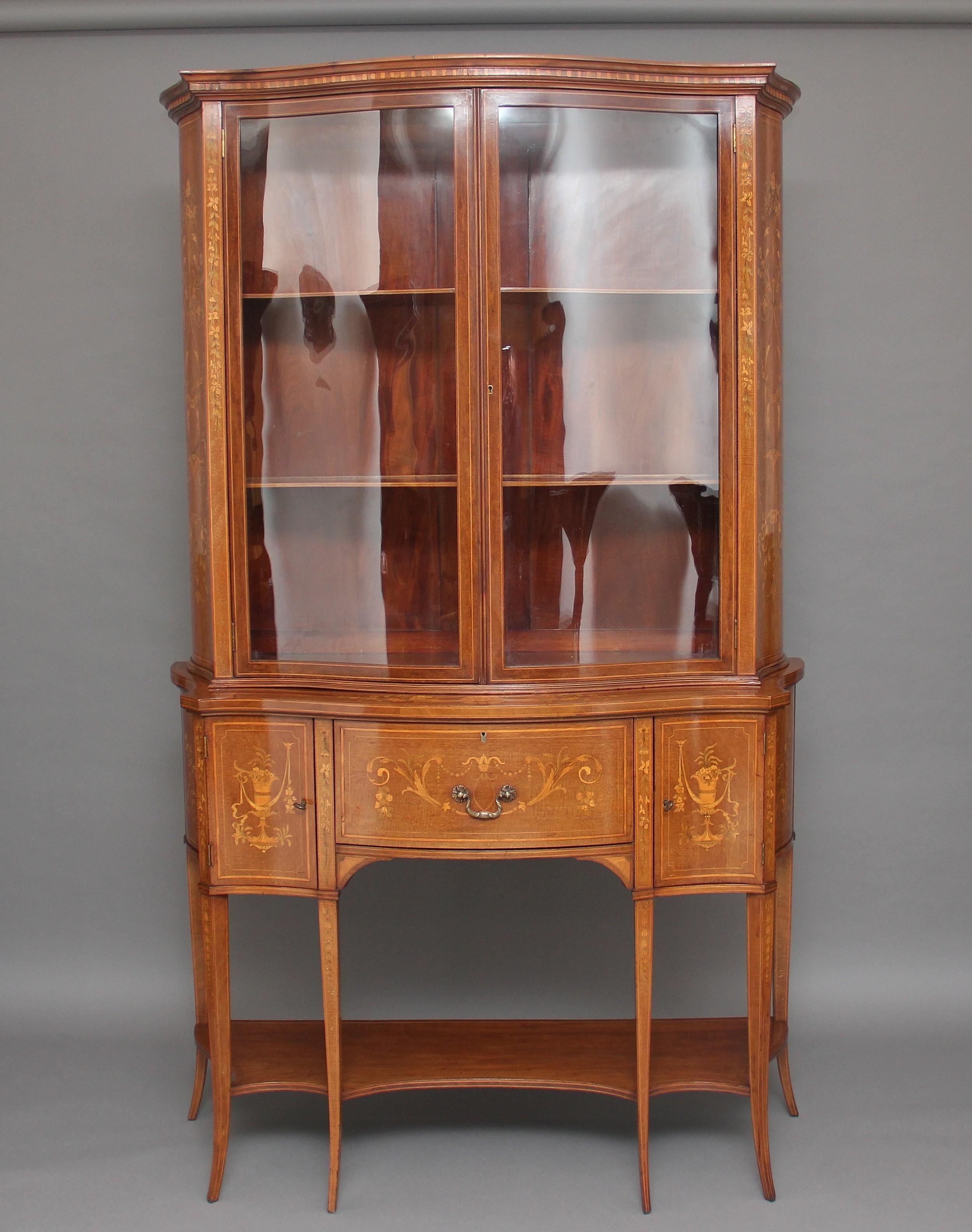 19th century mahogany inlaid display cabinet