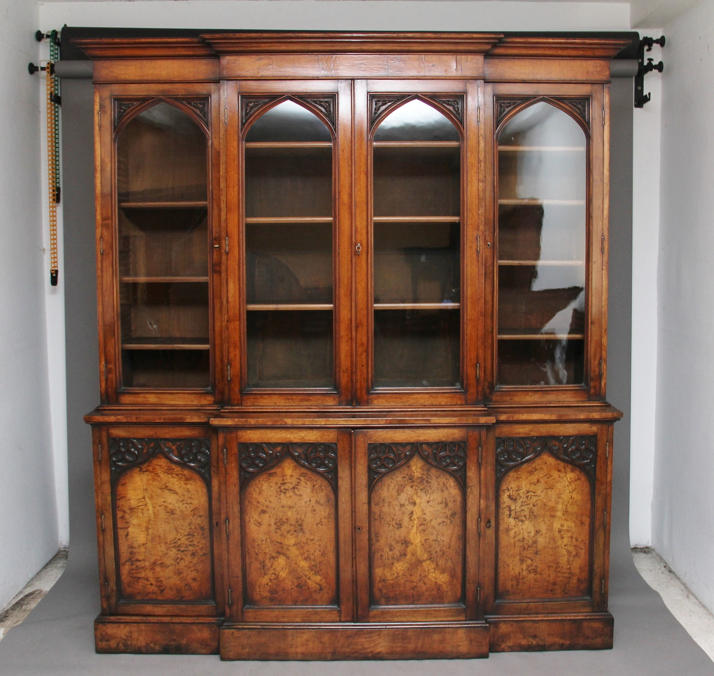 early 19th century pollard oak bookcase