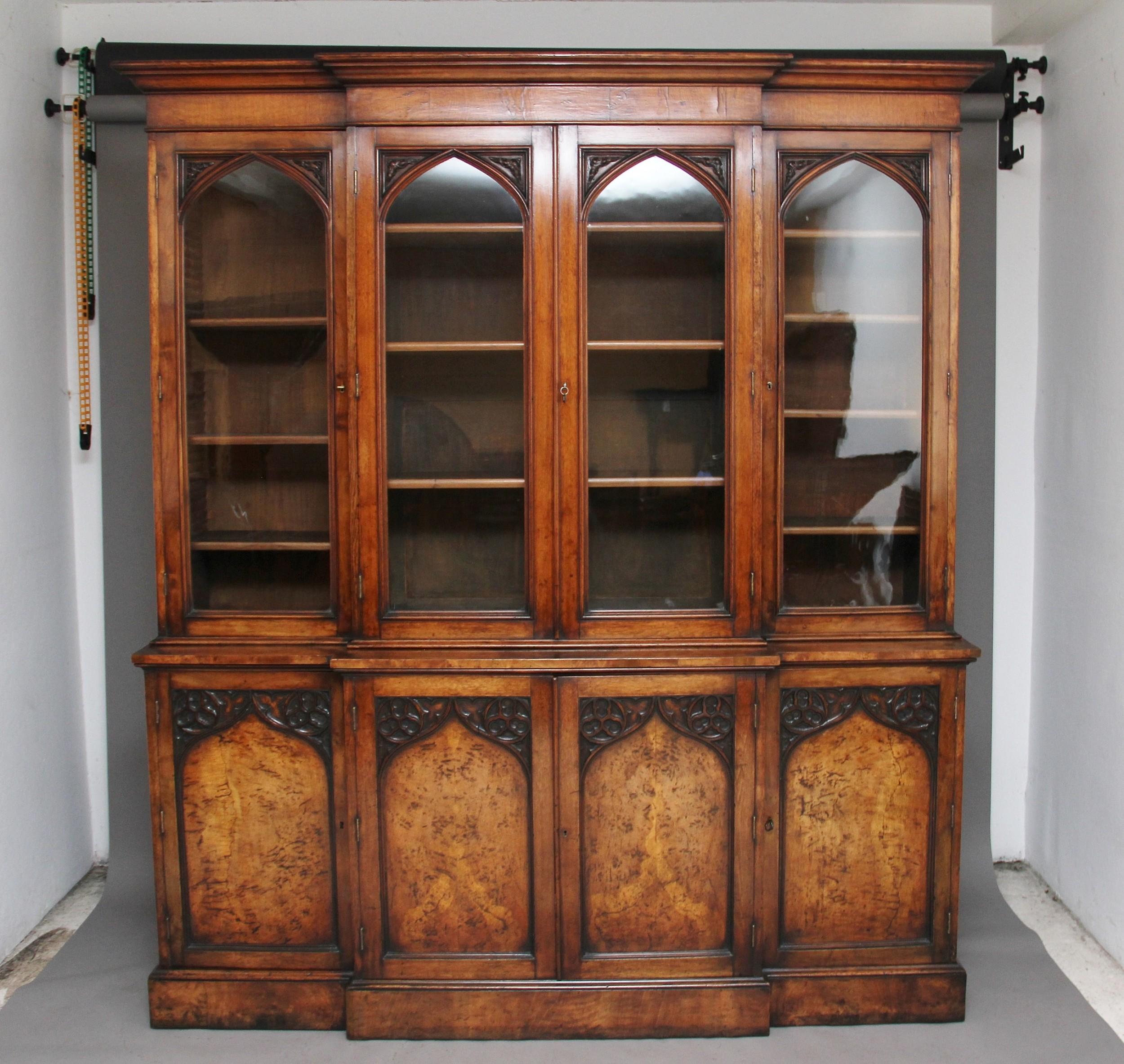 early 19th century pollard oak bookcase