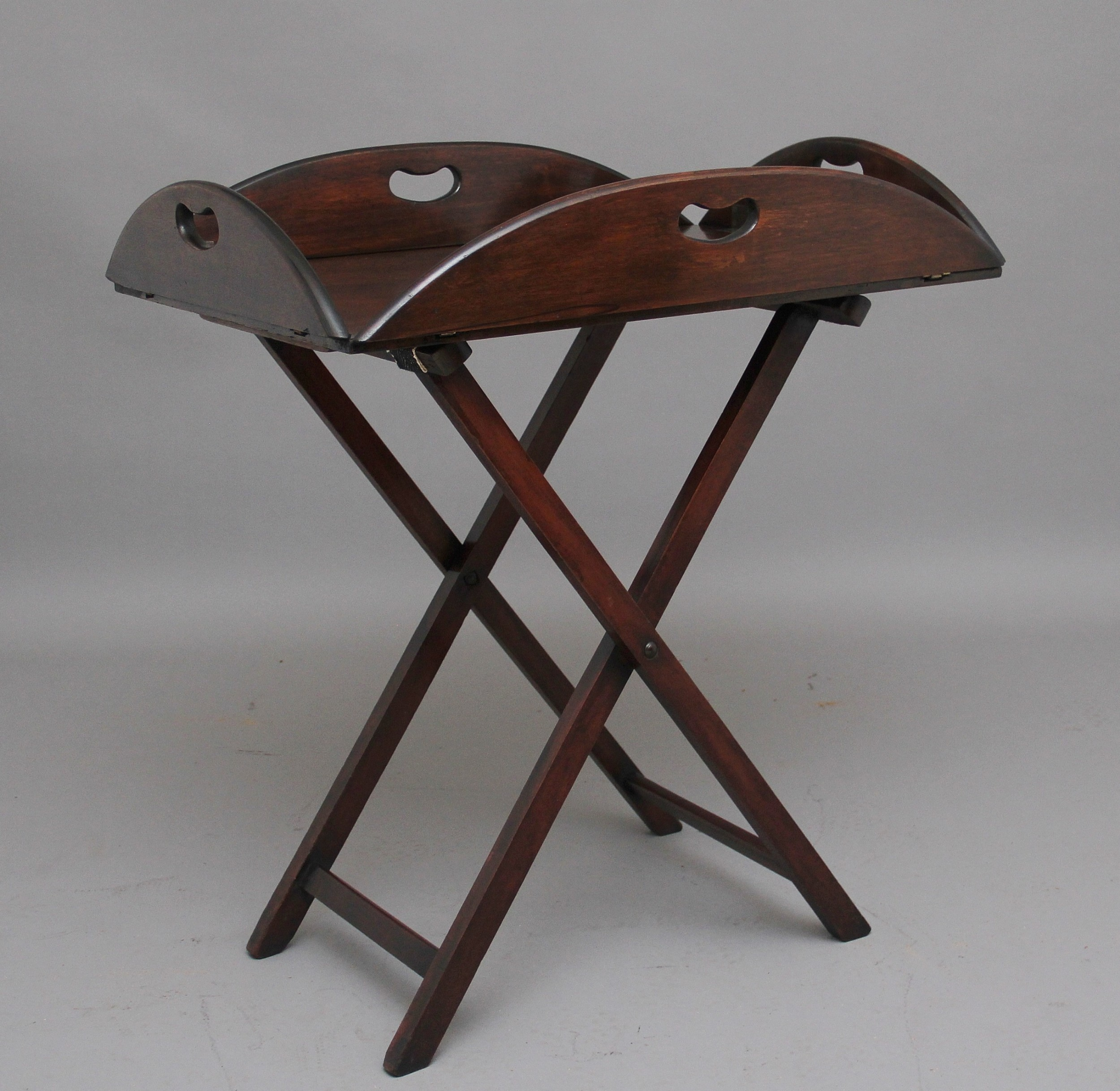 early 20th century mahogany folding butlers tray on stand