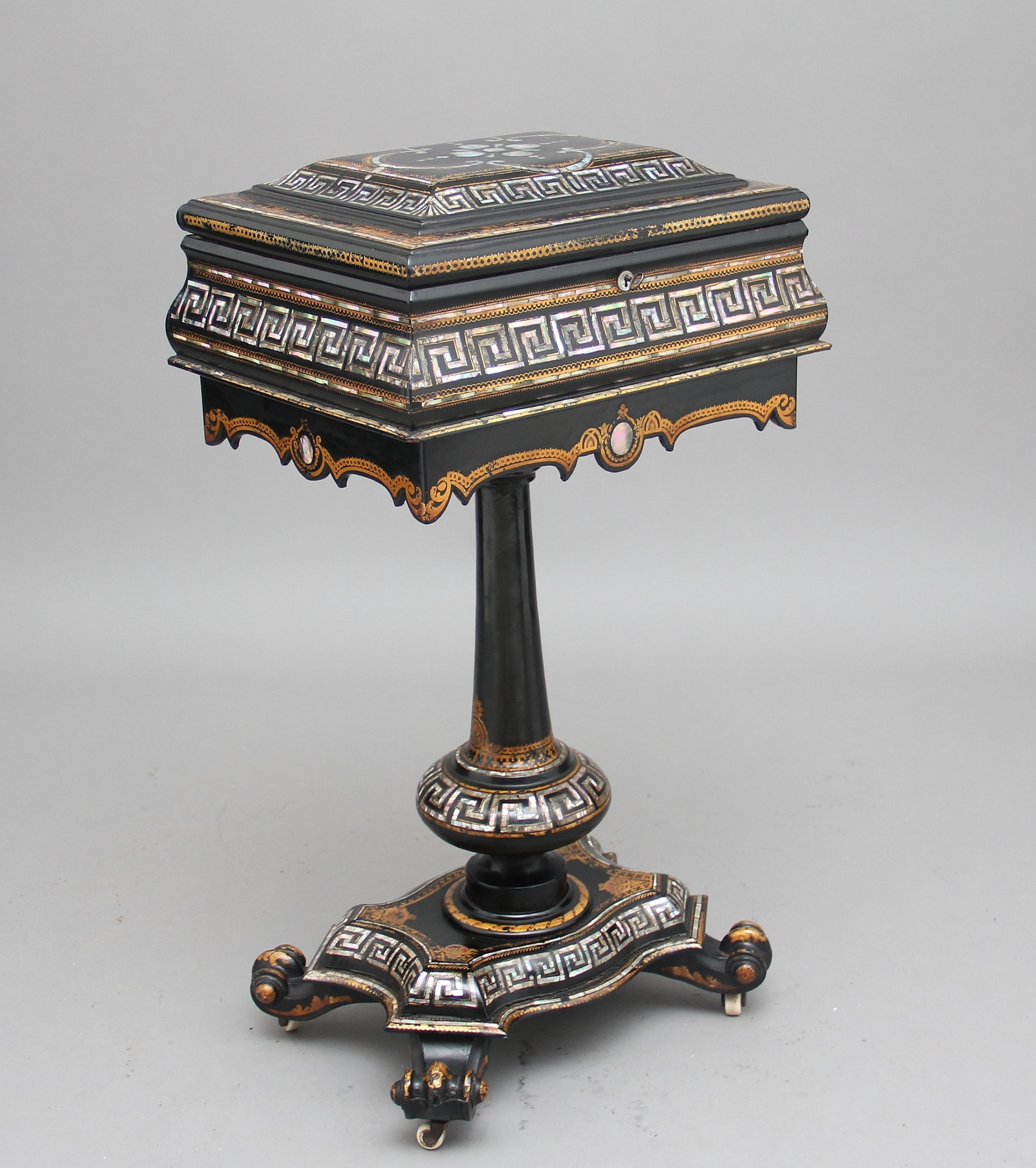19th century papiermache work table