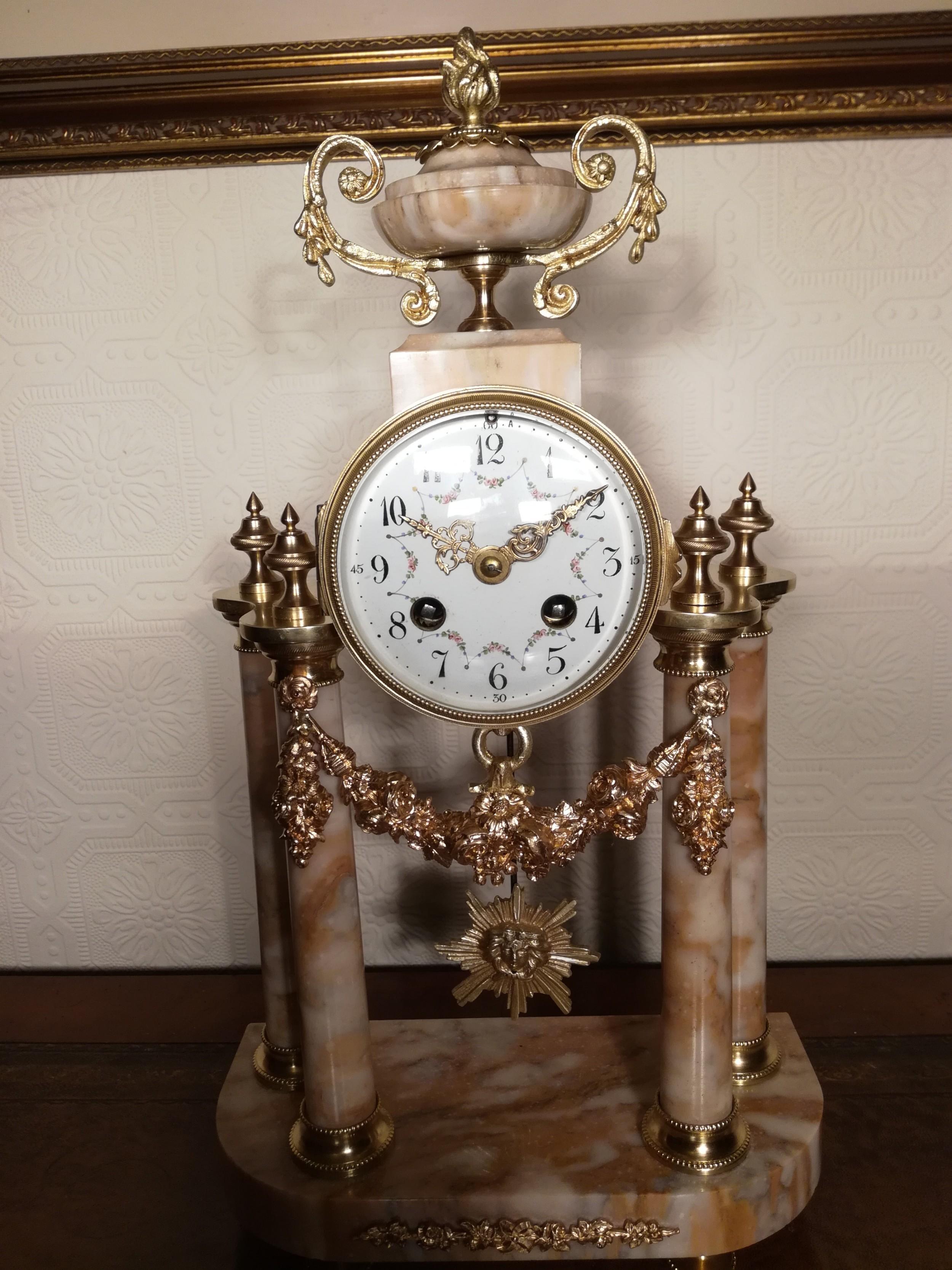 french bell striking portico mantel clock
