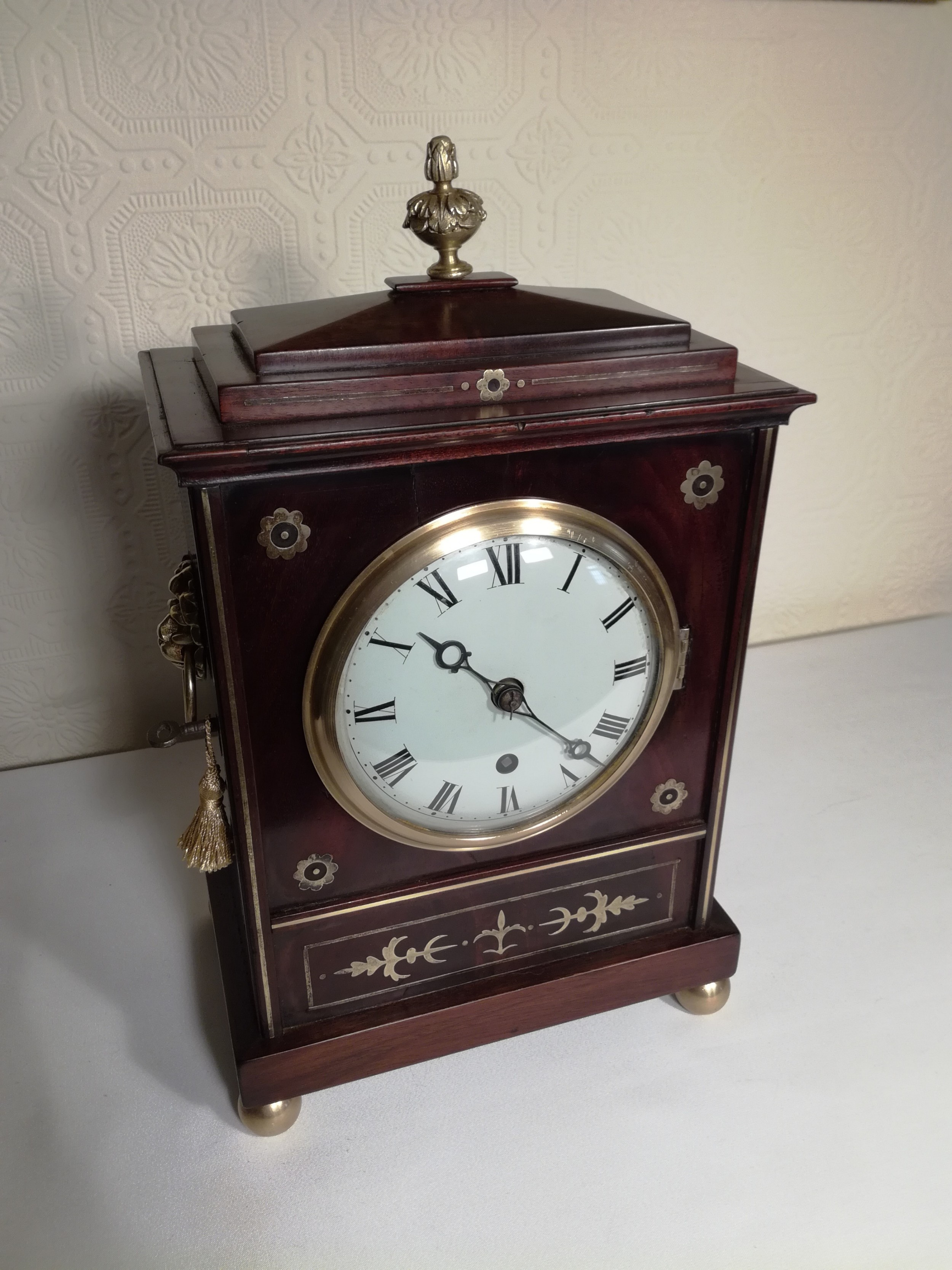 brass inlaid regency fusee library clock