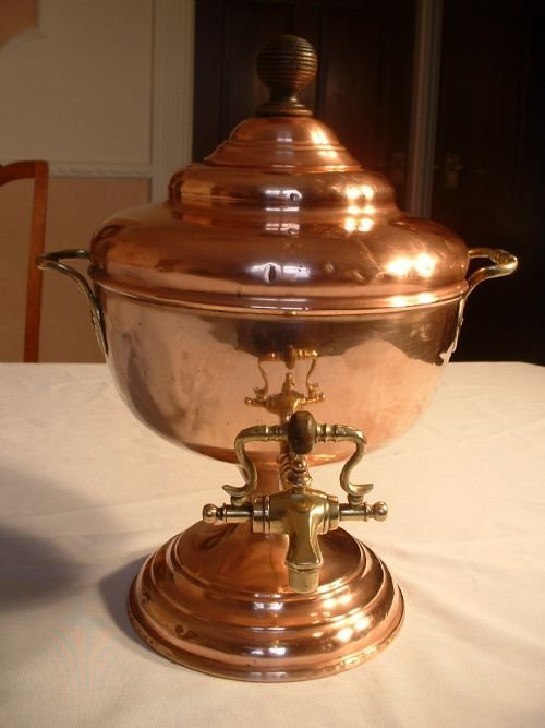 victorian copper and brass samovar
