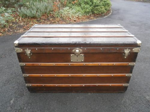 Antique Goyard Trunk Steamer Trunk Coffee Table Luggage Louis Vuitton 257581 Sellingantiques