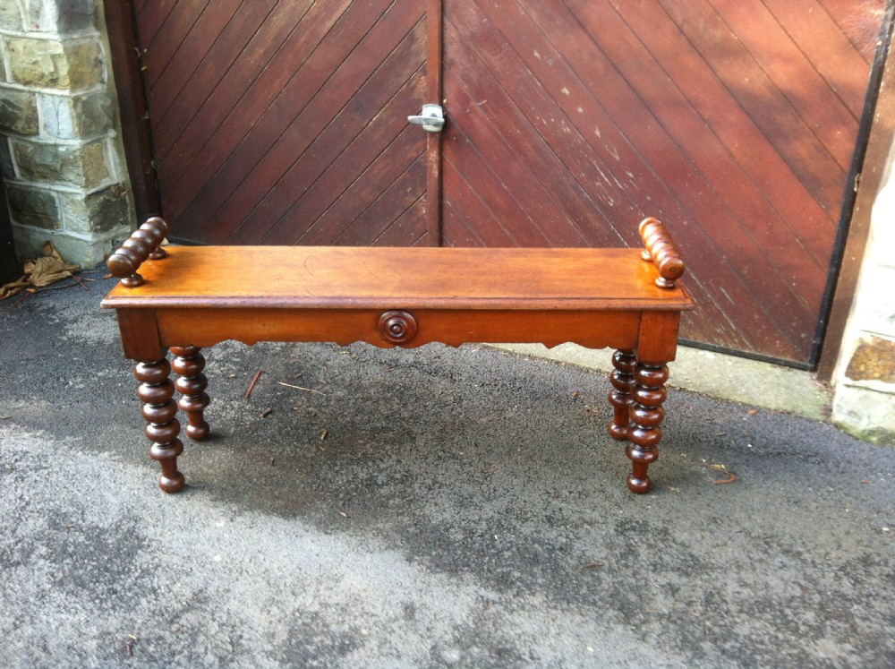 Antique Foyer Bench : Antique mahogany hall bench window seat