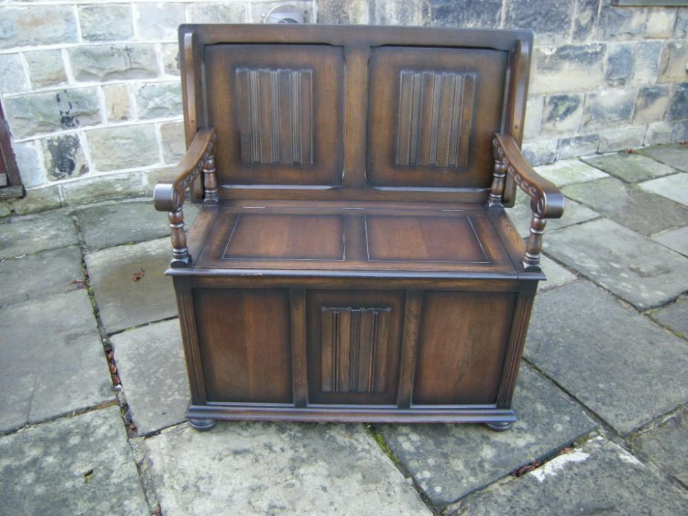 Antique Oak Monks Bench Hall Seat Settle 267590