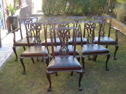 antique set 8 chippendale style mahogany dining chairs