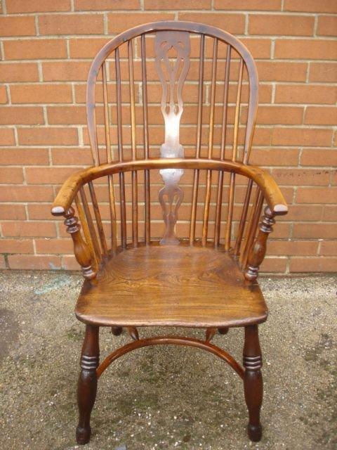 The antique yew wood windsor chair kitchen chair armchair has been