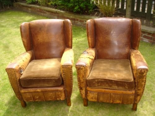 Pair Vintage Distressed Leather Club Armchairs