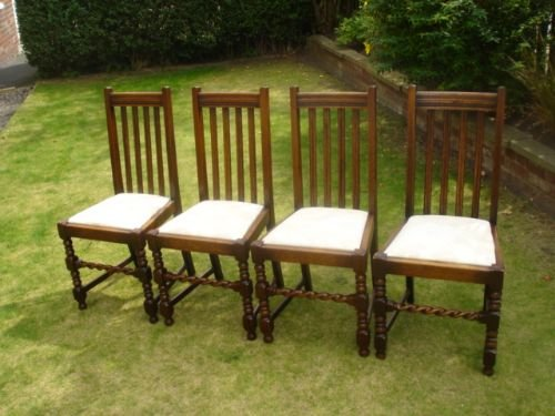 Set 4 Antique Oak Barley Twist Dining Chairs Kitchen Chairs