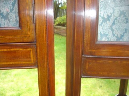 pair edwardian inlaid mahogany corner display cabinets vitrene - photo angle #4