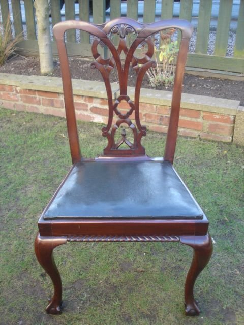 antique set 8 chippendale style mahogany dining chairs - photo angle #2