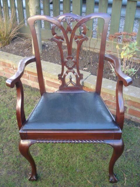 antique set 8 chippendale style mahogany dining chairs - photo angle #3