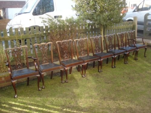 antique set 8 chippendale style mahogany dining chairs - photo angle #5