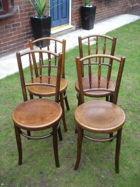 Set 4 Antique Bentwood Chairs Kitchen Chair