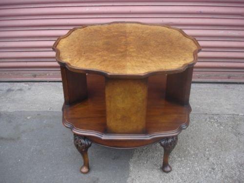 Antique Burr Walnut Revolving Bookcase Table
