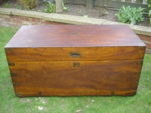 Antique Brass Bound Camphor Wood Blanket Box Trunk Chest Coffee