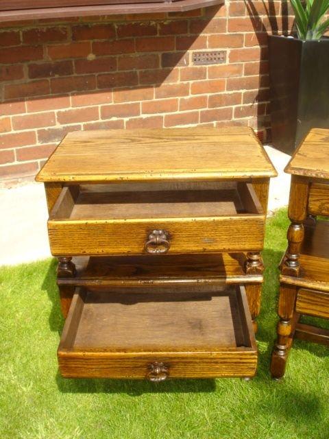Pair Antique Oak Bedside Tables Side Tables