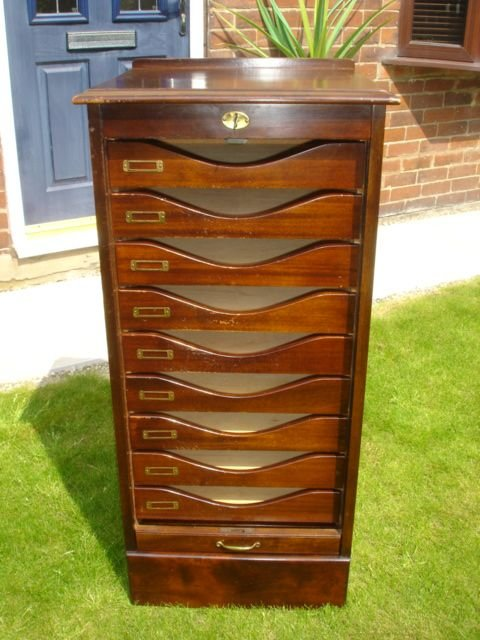 SOLD - Antique Mahogany Tambour Filing Cabinet Music Cabinet 166771