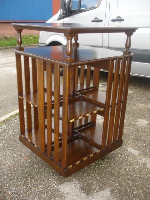 Delightful Antique Oak Revolving Bookcase Table