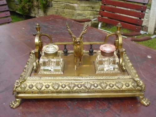 antique brass desk stand ink well desk tidy - Antique Brass Desk Stand Ink Well Desk Tidy 172455