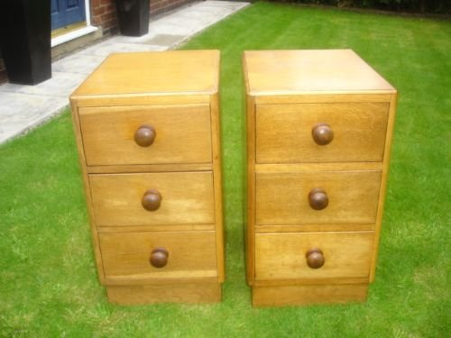 Pair Antique Oak  Draw Bedside Chests Bedside Cabinet Table