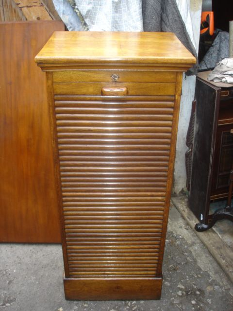 antique oak tambour front filing cabinet chest music cabinet - Antique Oak Tambour Front Filing Cabinet Chest Music Cabinet