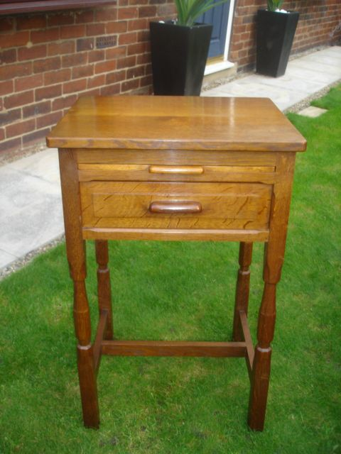 Antique Oak Cotswold School Side Table Mouseman Style Bedside