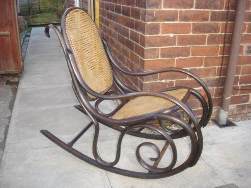 antique thonet bentwood rocking chair armchair 195231. Black Bedroom Furniture Sets. Home Design Ideas