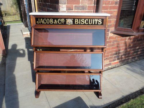 antique glazed walnut shop display cabinet advertising jacob biscuits - Antique Glazed Walnut Shop Display Cabinet Advertising Jacob
