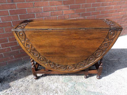 Antique Carved Oak Barley Twist Drop Leaf Dining Table