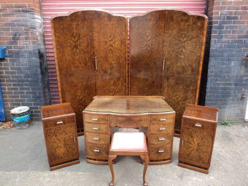 antique art deco burr walnut bedroom 6 piece suite - Antique Art Deco Burr Walnut Bedroom 6 Piece Suite 217638