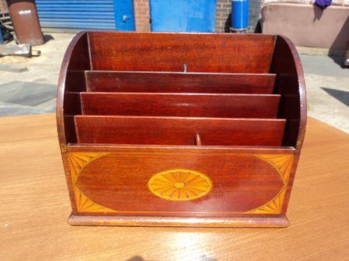 antique inlaid mahogany stationary rack filing desk tidy - Antique Inlaid Mahogany Stationary Rack Filing Desk Tidy 232544