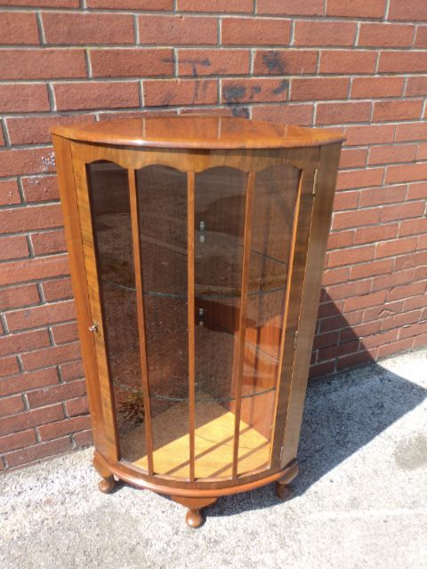 antique walnut corner display cabinet china cabinet - Antique Walnut Corner Display Cabinet China Cabinet 234533
