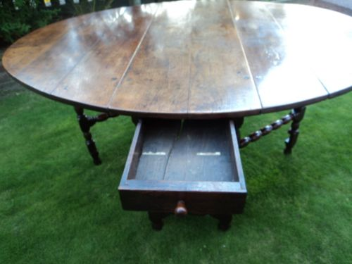 early 18th century oak drop leaf dining table kitchen table - photo angle #2