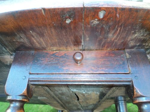 early 18th century oak drop leaf dining table kitchen table - photo angle #7
