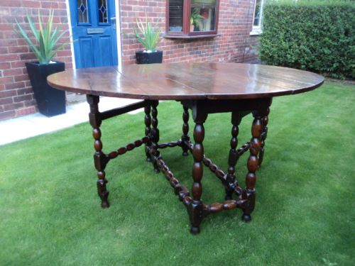 early 18th century oak drop leaf dining table kitchen table - photo angle #13