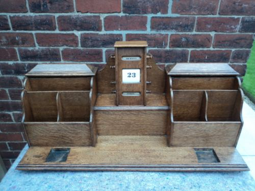 large antique oak desk tidy calendar stationary - Large Antique Oak Desk Tidy Calendar Stationary 238718