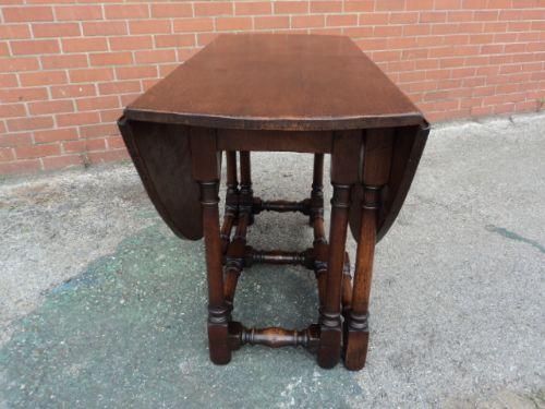 Antique Oak Gateleg Drop Leaf Dining Table Kitchen Table