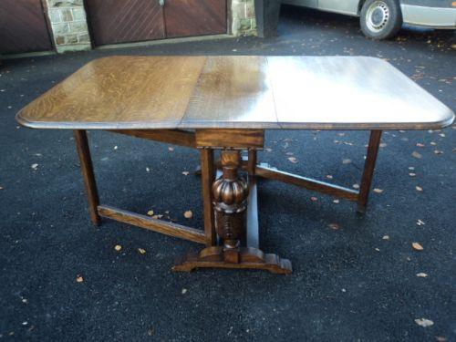 Antique Carved Oak Drop Leaf Dining Table Kitchen Table
