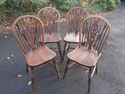 antique set 4 ash elm farmhouse kitchen chairs - Antique Set 4 Ash & Elm Farmhouse Kitchen Chairs 251687