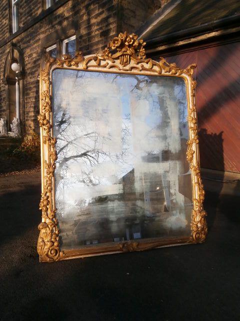 Ornate Antique Gilt Framed Mirror Overmantle 254219
